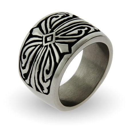 Men's Engravable Tribal Design Stainless Steel Ring | Eve's Addiction®