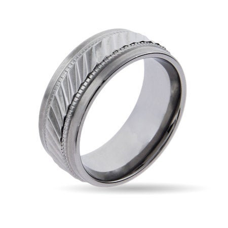 Men's Classy Stainless Steel Engravable Band with Milgrain Design | Eve's Addiction®