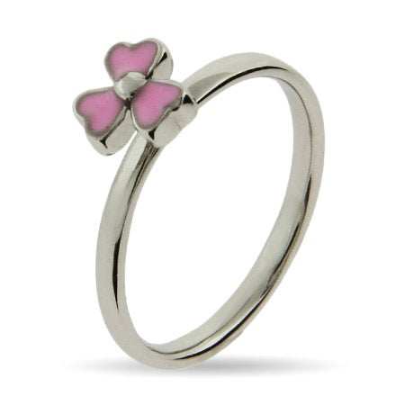 Pink Dogwood Enamel Stackable Ring | Eve's Addiction®
