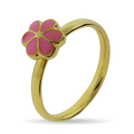Gold Vermeil Pink Magnolia Stackable Ring | Eve's Addiction®