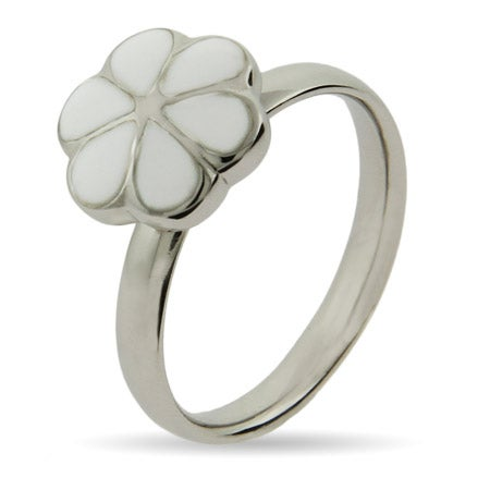 White Magnolia Enamel Stackable Ring | Eve's Addiction®
