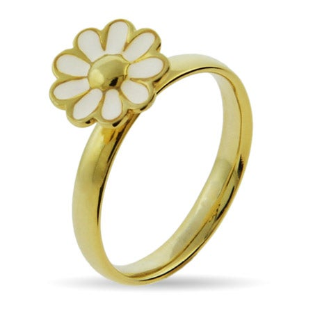 Gold Vermeil White Daisy Stackable Ring | Eve's Addiction