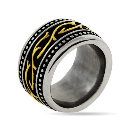 Engravable Men's Ring with Black and Gold Accents | Eve's Addiction®