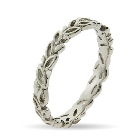 Silver Leaves Thin Stackable Band | Eve's Addiction®