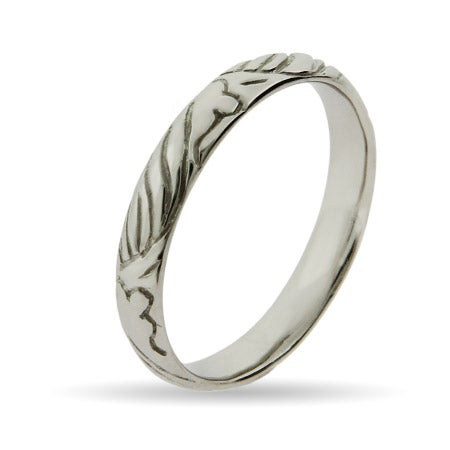 Engraved Gentle Waves Design Silver Stackable Ring | Eve's Addiction®
