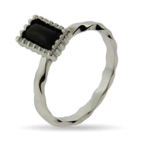 Emerald Cut Onyx Silver Stackable Ring | Eve's Addiction®