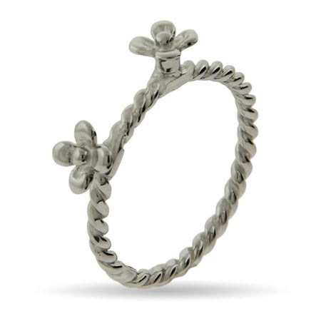 Double Silver Flower Stackable Ring | Eve's Addiction®