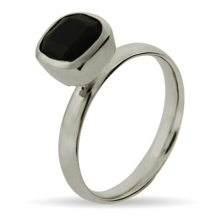 Cushion Cut Onyx Stackable Ring | Eve's Addiction®