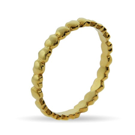 Gold Vermeil Band of Hearts Stackable Ring | Eve's Addiction®
