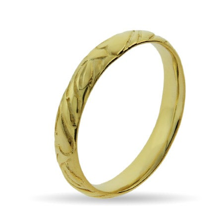 Gold Vermeil Engraved Stackable Band | Eve's Addiction®