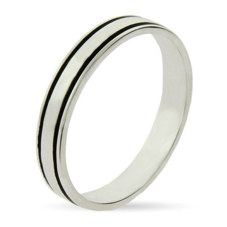 Sterling Silver Black Lined Stackable Ring | Eve's Addiction®