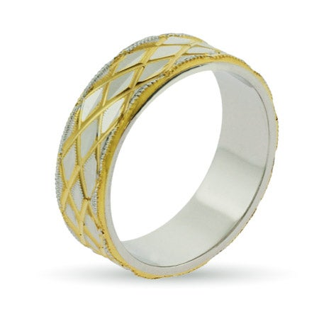 Eternity by Eve Golden Cross Cut Sterling Silver Wedding Band | Eve's Addiction®