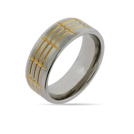 Engravable 2 Tone Gold Lined Stainless Steel Ring