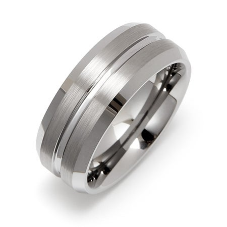 Men's Wide Groove Engravable Tungsten Wedding Band | Eve's Addiction®
