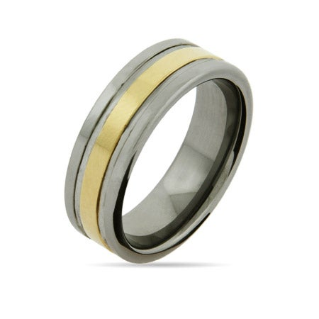 Men's Engravable Tungsten Ring with Golden Center Band | Eve's Addiction®