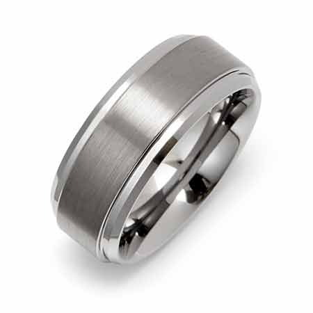 8mm Raised Center Engravable Tungsten Ring | Eve's Addiction®