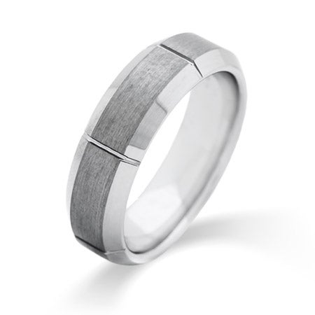 Men's Vertical Cut Engravable Tungsten Ring | Eve's Addiction®