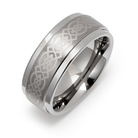 8mm Celtic Design Engravable Tungsten Ring | Eve's Addiction
