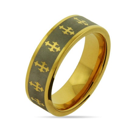 Engravable Gothic Cross Gold Tungsten Band | Eve's Addiction®
