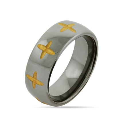 Golden Laser Cut Cross Engravable Tungsten Band | Eve's Addiction®