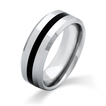 Men's Engravable Black Stripe Beveled Edge Tungsten Ring | Eve's Addiction®