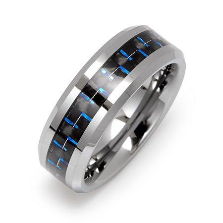 Men's Cobalt Blue Carbon Fiber Inlay Tungsten Ring | Eve's Addiction®