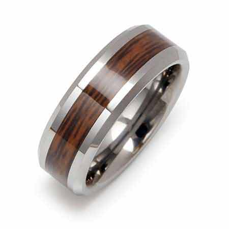 Wood Grain Inlay Engraved Tungsten Ring | Eve's Addiction®
