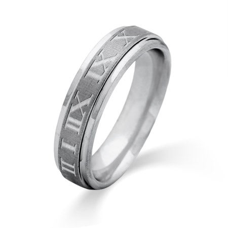 Men's 6MM Engravable Roman Numeral Tungsten Ring | Eve's Addiction®
