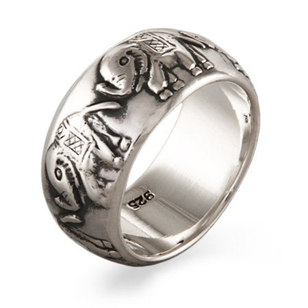 Parade of Elephants Sterling Silver Band | Eve's Addiction®