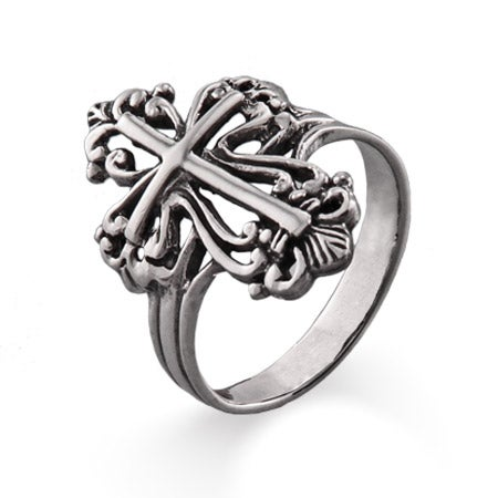 Sterling Silver Ornate Cross Ring | Eve's Addiction®