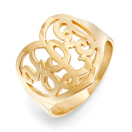 Gold Vermeil Custom Monogram Heart Ring | Eve's Addiction®
