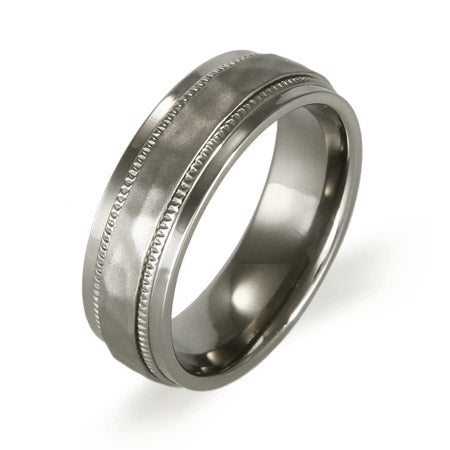 Men's Hammered Design Titanium Ring | Eve's Addiction®