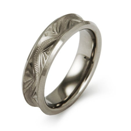 Handcrafted Carved Design Titanium 6mm Band | Eve's Addiction®