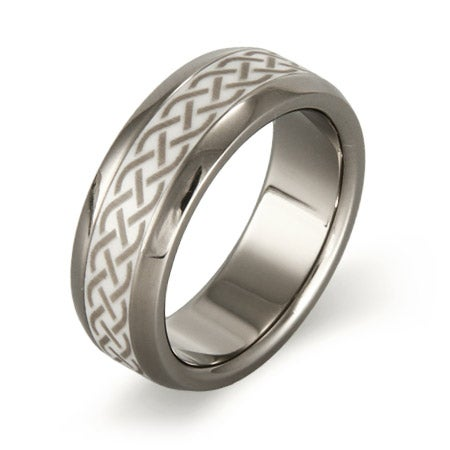 Men's Titanium Ring with Ceramic Celtic Design Inlay | Eve's Addiction®