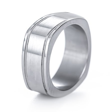 Men's Double Groove Square Engravable Ring | Eve's Addiction®