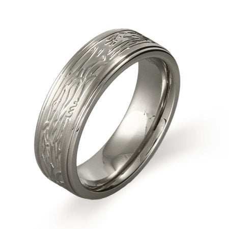 Men's Tree Bark Design Ring in Stainless Steel | Eve's Addiction®