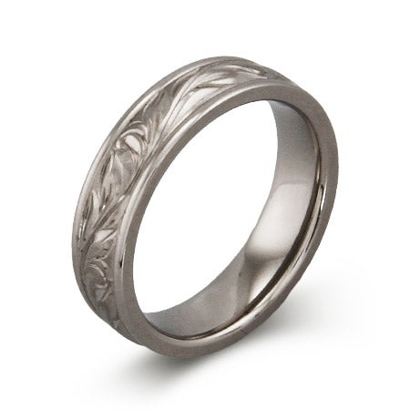 Engravable Handcrafted Vine Design Titanium Ring | Eve's Addiction®