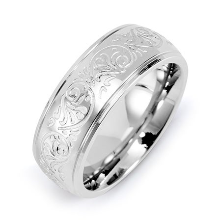 Engravable Mens Stainless Steel Carved Design Ring | Eve's Addiction®
