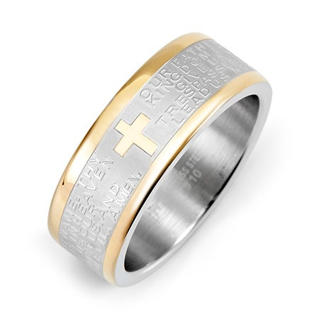 Engravable Two Tone Stainless Steel Lords Prayer Ring | Eve's Addiction®