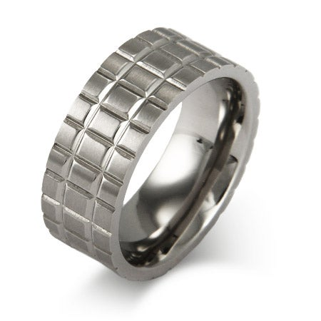 Men's Iron Grid Stainless Steel Comfort Fit Band | Eve's Addiction®
