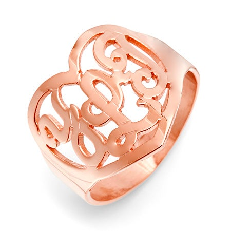 Rose Gold Vermeil Custom Monogram Heart Ring | Eve's Addiction®