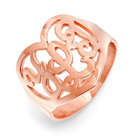Rose Gold Vermeil Custom Monogram Heart Ring | Eve's Addiction®