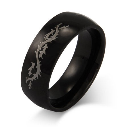 Men's Stainless Steel Engravable Dragon's Tail Ring | Eve's Addiction®