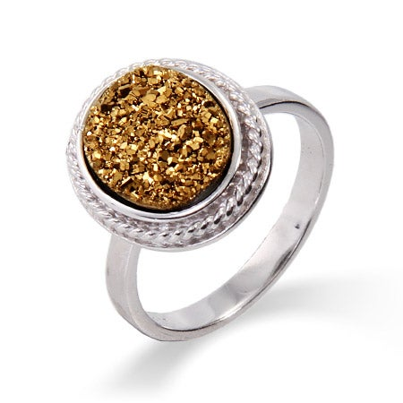 Oval Sterling Silver Cabled Golden Drusy Ring | Eve's Addiction®