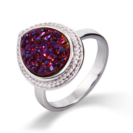 Sterling Silver Cabled Pearcut Raspberry Drusy Ring | Eve's Addiction®