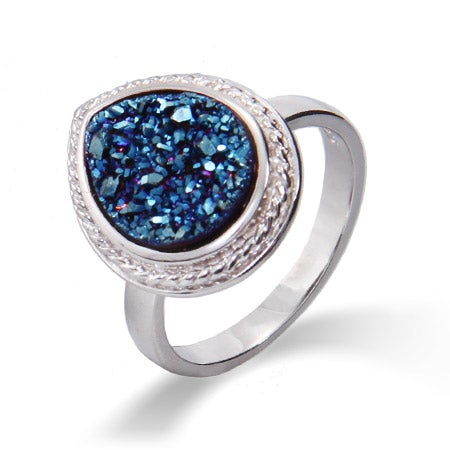 Sterling Silver Cabled Pearcut Blue Drusy Ring | Eve's Addiction®