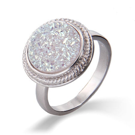Sterling Silver Round Cabled Iridescent Drusy Ring | Eve's Addiction®