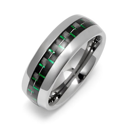 Men's Tungsten Ring with Green Carbon Fiber Inlay | Eve's Addiction®