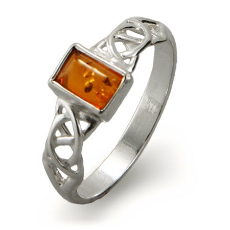 Emerald Cut Baltic Amber Sterling Silver Celtic Knot Ring | Eve's Addiction®