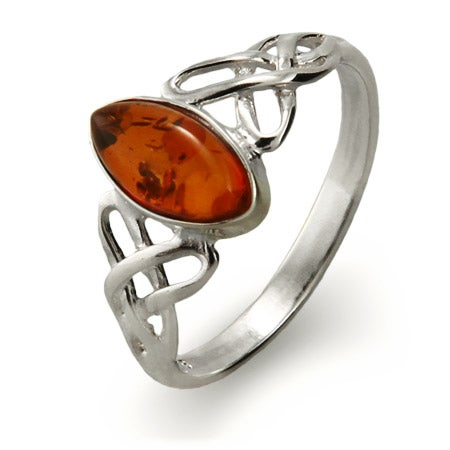 Genuine Baltic Amber Silver Celtic Knot Ring | Eve's Addiction®